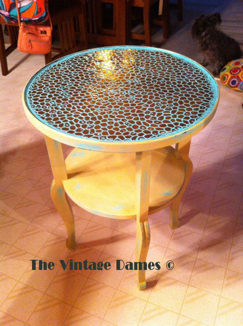 turquoise and gold copper table